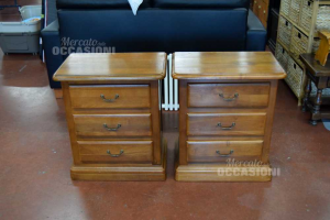 Pair Wooden Bedside Tables Sturdy 3 Drawers
