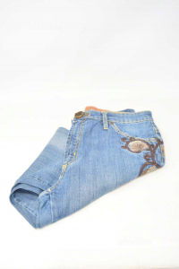 Jeans Woman Marboro Classic Size.31 With Embroidery Floral Brown