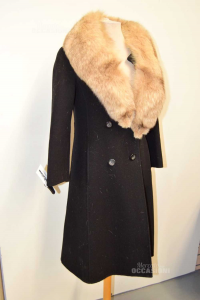 Coat Woman Black Long With Fur Collar