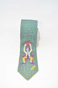 Cravatta Con Stampa Forattini Verde Giallo Blu In 100 % Seta