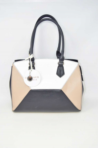Bag Woman In Faux Leather Black White Beige Diana&co.with Shoulder Strap New