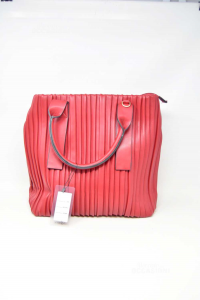 Bag Woman In Faux Leather Red Model Arricciato New