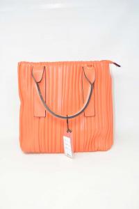 Bag Woman In Faux Leather Orange Model Arricciato New