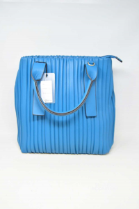 Bag Woman In Faux Leather Blue Model Arricciato New