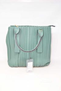 Bag Woman In Faux Leather Green Model Arricciato New