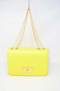 Bag Woman Yellow Fluo With Shoulder Strap Golden New