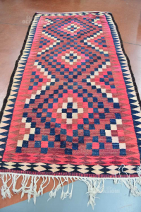 Wool Carpet Hand Made Fantasy To Square Blue Red Size 146x290 Cm -