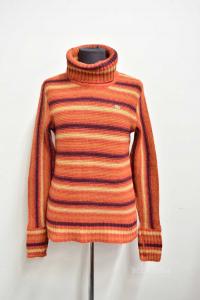Maglione Donna Lacoste In Lana A Righe Arancioni Tg 38