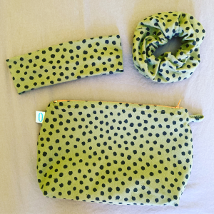 Set pois verde: Beauty+elastico grande+fascia semplice