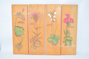 Painting Tablet Wood With Flower Painted 4 Pieces 39x12 Cm