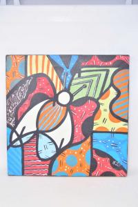 Set 4 Square Painted - Canvas 40x40 Cm Style Picasso