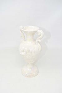 Vase Ceramics Of Titan San Marine White Pearl 24 Cm Height