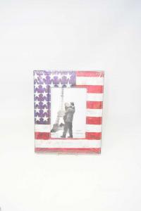 Holder Photo In Similpelle Flag America 13x18 Cm New