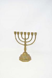 Candlestick Menorah 7 Arms Brass 22 Cm Height
