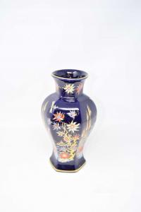 Vase Ceramic Blue Floral 25 Cm