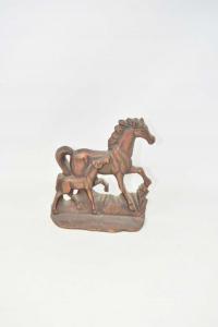 Pair Horses Iron 17x18 Cm
