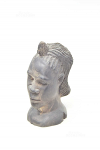 Face Of Man African Black Wood 20 Cm