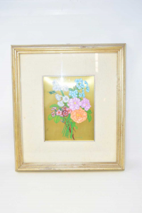 Painting Painted Lusito Bouquet Of Flowers 37x41 Cm