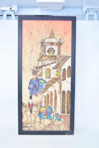 Painting Canvas Batik Painted 58x27 Cm
