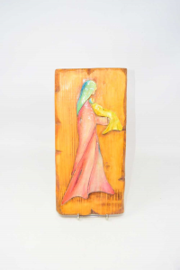 Painting Wood Carved Madonna With Child 31x15 Cm Hand Made