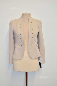 Jacket Woman Color Beige With Buttons Gold Plated Size L Made In Italy