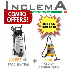 COMET KS 1700 EXTRA idropulitrice acqua fredda + ASL10P GHIBLI aspirapolvere & aspiraliquidi