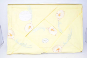 1 Sheet Double + 2 Pillowcases Yellow With Calla,new,cotton
