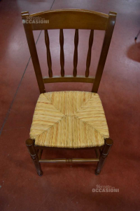4 Wooden Chairs Impagliate With Pillow