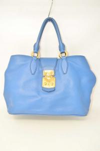 Bag Woman Miu Miu Color Blue With Fibbie Gold Plated Original Made In Italy