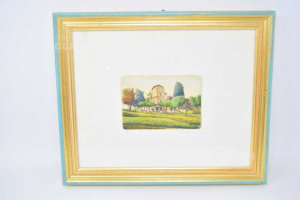 Painting Serigraphy 35x29 Cm Serigraphy Landscape With House Numerata 97 / 150