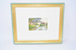 Painting Serigraphy 35x29 Cm Serigraphy Landscape With House And Strada Numerata 96 / 150