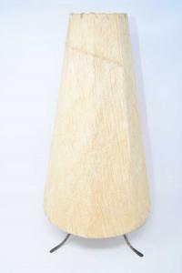 Porta Lampada In Ferro Con Rivestimento In Pelle Di Capra Altezza 48 Cm