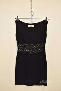 Dress Woman RoccoBarocco Metropolis Smanicato Black,headband Lace,made Italy Size.s