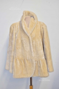 Eco Fur In Wool And Acrylic Color Panna Size 44 Brand Impulso Made In Italy