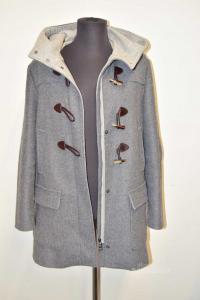 Coat Woman Benetton Gray Size 48 With Alamari,capuccio