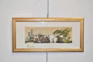 Painting Serigraphy Author Marioxii /xx Plants And Vases Framed 74x34 Cm