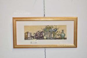 Painting Serigraphy Author Mario Thex/xx Plants Vases Watch Framed 74x34 Cm