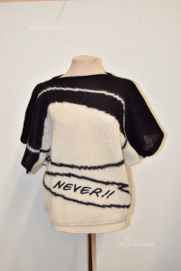 Sweater Woman Icebearg Size 44 / M 65% Mohair White And Black With Writing