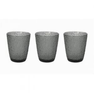 Linea Davor Grigio Set 3 Bicchieri Da Acqua 280 Cc Colore Grigio Chiaro In Vetro Decorati Casa Cucina