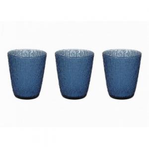 Linea Davor Blu Set 3 Bicchieri Da Acqua In Vetro 280 Cc Colore Blu Decorati Casa Cucina