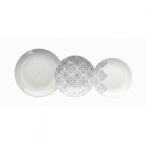 Linea Madison Nieve Set Piatti 18 Pezzi Coordinati In Porcellana Fondo Bianco Con Decorazioni Grigie Casa Cucina Servizio Piatti