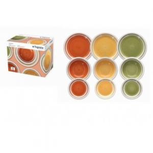 Linea Louise Autunno Servizio Di Piatti 18 Pezzi Colorati Vari Colori Assortiti Con Bordi Bianchi Porcellana Casa Cucina