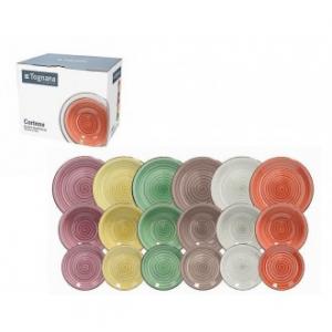 Linea Louise Corinne Set Di Piatti Da Tavola In Porcellana 18 Pezzi Colorati Colori Assortiti Servizio Casa Cucina