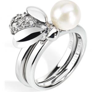 Anello doppio donna in acciaio con perla e cristalli bianchi Morellato SKQ08016