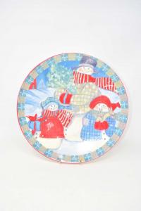 Plate Christmas Snowmen 32 Cm