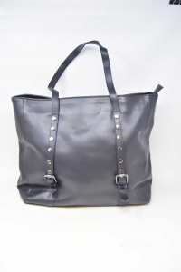 Bag Woman Boat True Leather Black Studded Made In Italy 35x11x32 Cm
