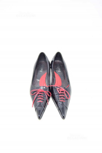 Shoes Woman Manzoni Glossy Black With Laces Red