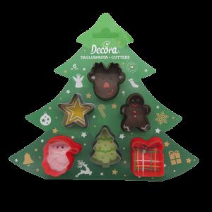 Decora 6 stampi tagliapasta in plastica decori Natale