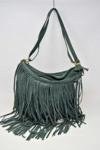 Bag Woman Creations In True Leather Made In Italy Green With Fringes