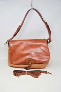 Bag Woman In Canvas Beige And Leatherette Brown Style Ethnic 32x22 Cm